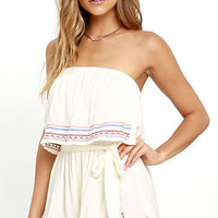 Catch the Sunrise Cream Strapless Embroidered Romper