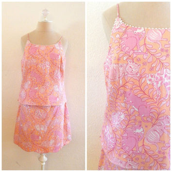 RARE 90s Vintage LILLY PULITZER Cat Animal Print Pink Womens Skirt Tank Set Sz M