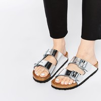 Birkenstock Arizona Metallic Silver Slider Flat Sandals