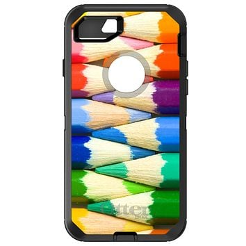 DistinctInk™ OtterBox Defender Series Case for Apple iPhone or Samsung Galaxy - Rainbow Colored Pencils
