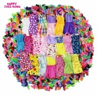 24 Pcs = 12 x Handmade Mini Dress Doll Clothes Short Skirt + 12 x Shoes High Heels Dollhouse Accessories For Barbie Doll Kid Toy