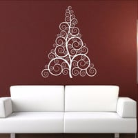 Christmas Tree Style B Swirly Removable Vinyl Wall Decal 22359