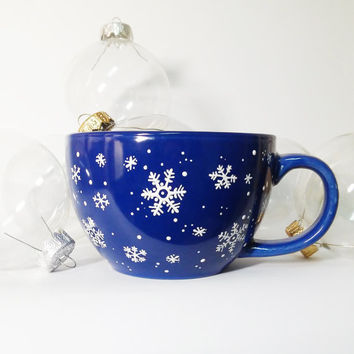 Christmas mug Blue Snowflake mug Christmas coffee cup tea cup Christmas gift Large Coffee Mug Jumbo Ceramic Cup Hand painted big cup