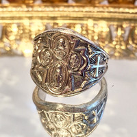 Vintage Religious Miraculous Medal Virgin Mary Adjustable Silver Ring Size 5 6 7