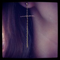 Cross chain earring
