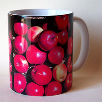 RED apples ceramic mug, farmer's market, harvest, produce, orchard, garden, coffee mug, cup, all occasion gift for anyone M650