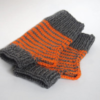 one of a kind wool free wristwarmers-- the condyle in grey heather and bold orange stripes