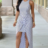 Striped Knot Front Sleeveless Maxi Dress