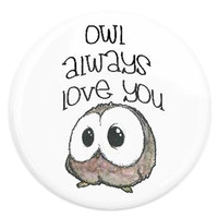 Button Pin Owl Love: Pin Back Button Owl Love
