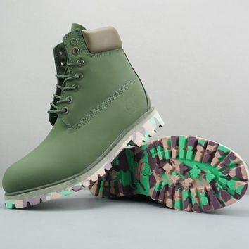 Timberland Leather Lace-Up Boot High Olive Green Camo Sole - Best Deal Online