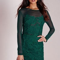 Missguided - Floral Lace Mesh Bodycon Dress Green