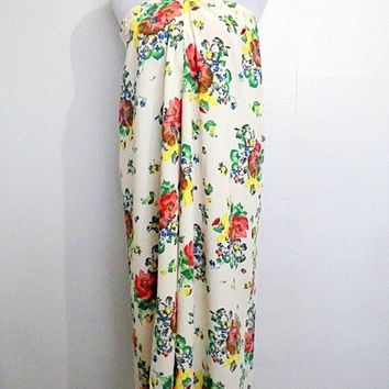 vintage ESPRIT ivory / cream floral wrap around maxi skirt / cover up (1990s)