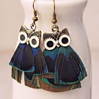 Charismatic Owl Feather Statement Earrings