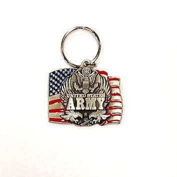 Army Heavy Duty Metal Pewter Keychain United States US Military Marine Corp