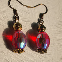 Deal of the Week Red Gold Irridescant Czech Glass Drop Dangle Earrings