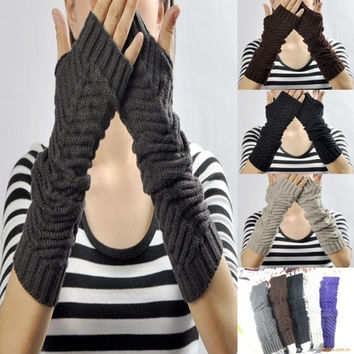 New Lady Women Arm Warmer Long Fingerless Knit Mitten Winter Gloves 06 = 1958372292