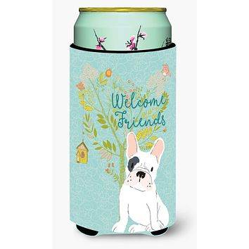 Welcome Friends Piebald French Bulldog Tall Boy Beverage Insulator Hugger BB7634TBC