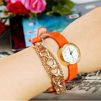 i6352 Fashionable Women's Analog Bracelet Design Wrist Watch (Orange)