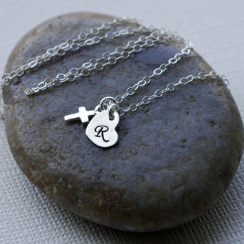 Tiny Cross Necklace, Silver Cross, Sterling Silver, Dainty Everyday, Catholic Gift, Communion Gift, Child's Necklace