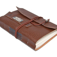 Brown Vegan Faux Leather Journal with Bookmark
