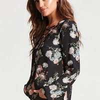 Lace-Up Floral Print Top