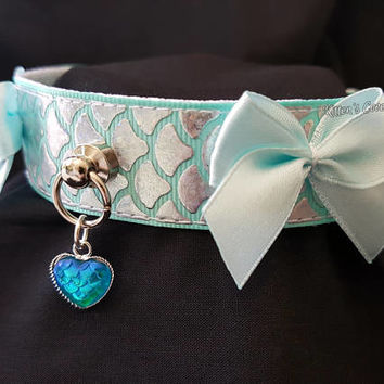 Pastel Blue/Aqua and Silver Holographic Mermaid Scale Snake Serpant Fish O Ring Kitten/Pet Play DDLG BDSM Collar
