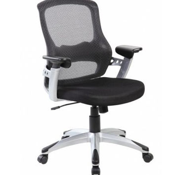 Black Mid Back Mesh Ergonomic Office Chair with Lumbar and Arms Support