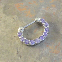 Purple Tanzanite Crystal Nose Ring 16 Gauge Septum Clicker Bull Ring