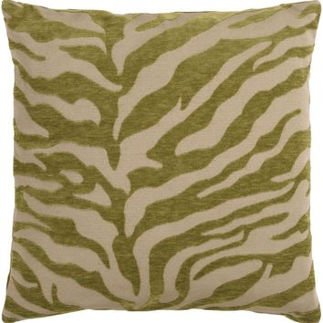 Velvet Zebra Throw Pillow Brown, Green