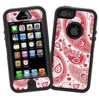 """Red Heart Bandana Paisley """"Protective Decal Skin"""" for Otterbox Defender iPhone 5 Case"""