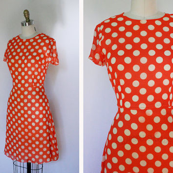 1980s Silk Polka Dot Dress Small by FancyThatVintage on Etsy
