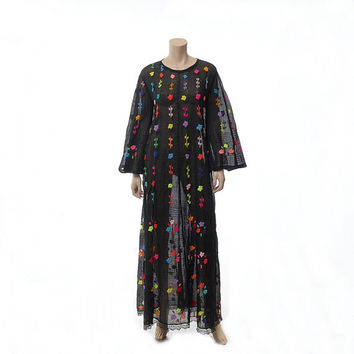 Vintage 70s Sheer Black Rainbow Embroidered Floral Mexican Dress 1970s Bell Sleeve Pintuck Gauze Hippie Festival Boho Fiesta Maxi Dress