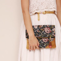 DAHLIA 16  / Floral tapestry & Natural leather folded clutch - Ready to Ship