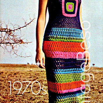 Crochet DRESS Pattern Vintage 70s Crochet Striped Lace Stitch Motif Dress Pattern Crochet MAXI Dress Pattern Crochet Long Dress Pattern