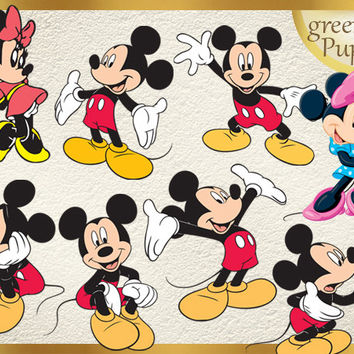 29 Mickey Mouse and Minnie Clipart PNG Mickey Digital Graphic Image Goofy Clip Art Scrapbook Invitations INSTANT DOWNLOAD printable 300 dpi