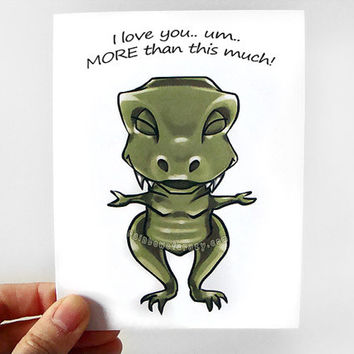 Love Card, Funny T-Rex Card, I Love You This Much, Dinosaur Card, Anniversary Card, Happy Birthday, Blank Card, Personalized Card