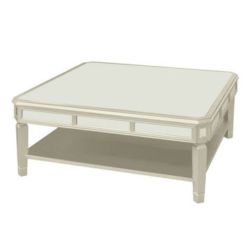 Benzara 16740 Wood Coffee Table With Beveled Mirror, Silver