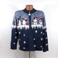 Ugly Christmas Sweater Vintage Tacky Holiday Party Women's Cardigan size L