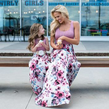 Sleeveless Floral Print Mommy And Me Maxi Dresses