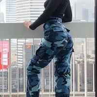 Blue Camo Print Pockets Buttons High Waisted Sports Casual Long Pants