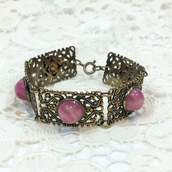 Czech Glass Bracelet, Art Deco Bracelet, Marbled Pink Glass Cabochons, Filigree Goldtone, 1930s, Bridal / Wedding Jewelry, Vintage Jewelry