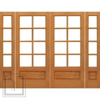 Prehung 8-lite French Mahogany 1 Panel IG Glass Double Door Sidelites