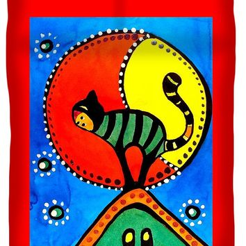 The Cat And The Moon - Cat Art By Dora Hathazi Mendes Duvet Cover