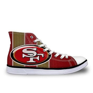 2018 San Francisco 49ers Canvas Shoes USA All Star Fans Print Shoes Painted Logo Men Boys Big Size Casual Shoes Drop Shipping