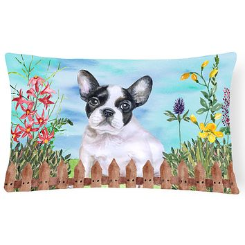 French Bulldog Black White Spring Canvas Fabric Decorative Pillow CK1272PW1216