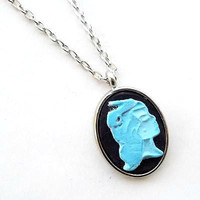 Shoe Hat, Cameo Necklace, Oval Frame Pendant, Blue and Black