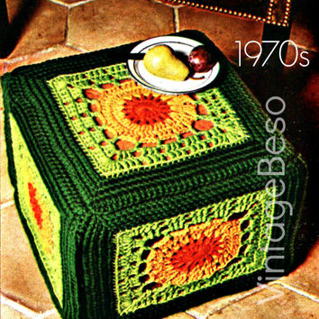 Foot Stool CROCHET Pattern 1970s Hassock Cover Vintage Crochet Pattern Granny Squares with unique twist Home Decor Instant Digital PDF