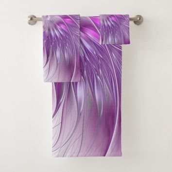 Pink Purple Flower Passion Abstract Fractal Art Bath Towel Set