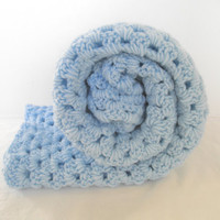 Blue Baby Blanket Knit Photography Photo Props Nursery Hand Made Linens