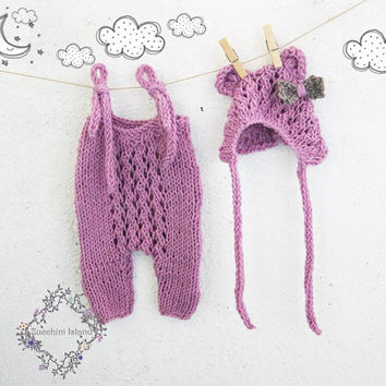 Lilac Teddy Bear  Knit Baby Romper and Bonnet Set / Newborn Photo Props / Baby Girl Outfit